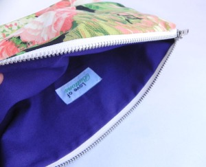 Fold Clutch - neon Floral:White & Purple1