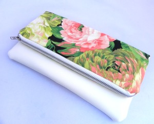 Fold Clutch - neon Floral:White & Purple2