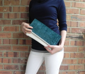 Fold Clutch - Teal:White &LimeGrn Dot3