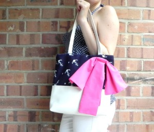 Purse - Anchor:White- Pink Bow3